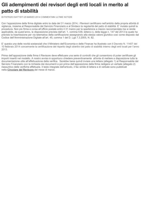 Gli adempimenti dei revisori degli enti...tto di stabilità _ La Revisione Legale