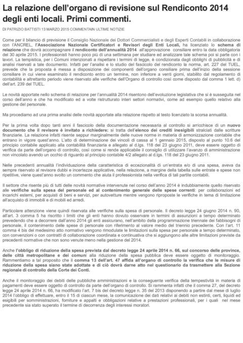 La relazione dell'organo di revisione s... Primi commenti. _ La Revisione Legale