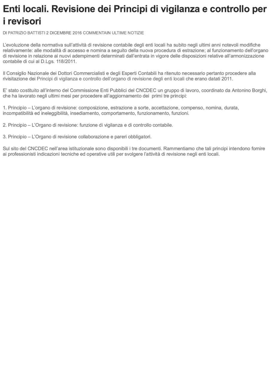 Enti locali. Revisione dei Principi di ...o per i revisori _ La Revisione LegaleEnti locali. Revisione dei Principi di ...o per i revisori _ La Revisione Legale