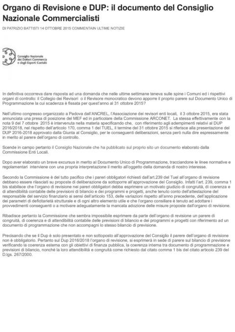 Organo di Revisione e DUP_ il documento...e Commercialisti _ La Revisione Legale