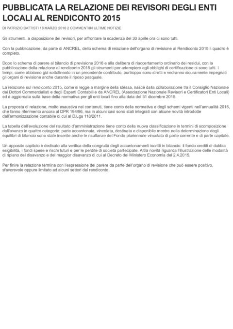 PUBBLICATA LA RELAZIONE DEI REVISORI DE... RENDICONTO 2015 _ La Revisione Legale