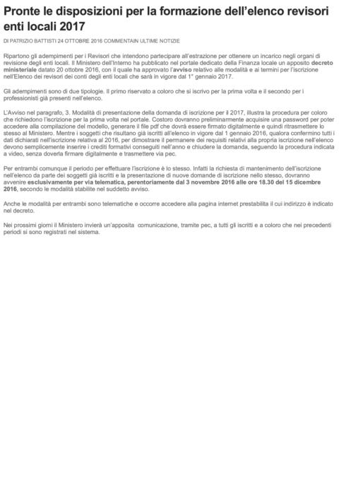 Pronte le disposizioni per la formazion...enti locali 2017 _ La Revisione Legale