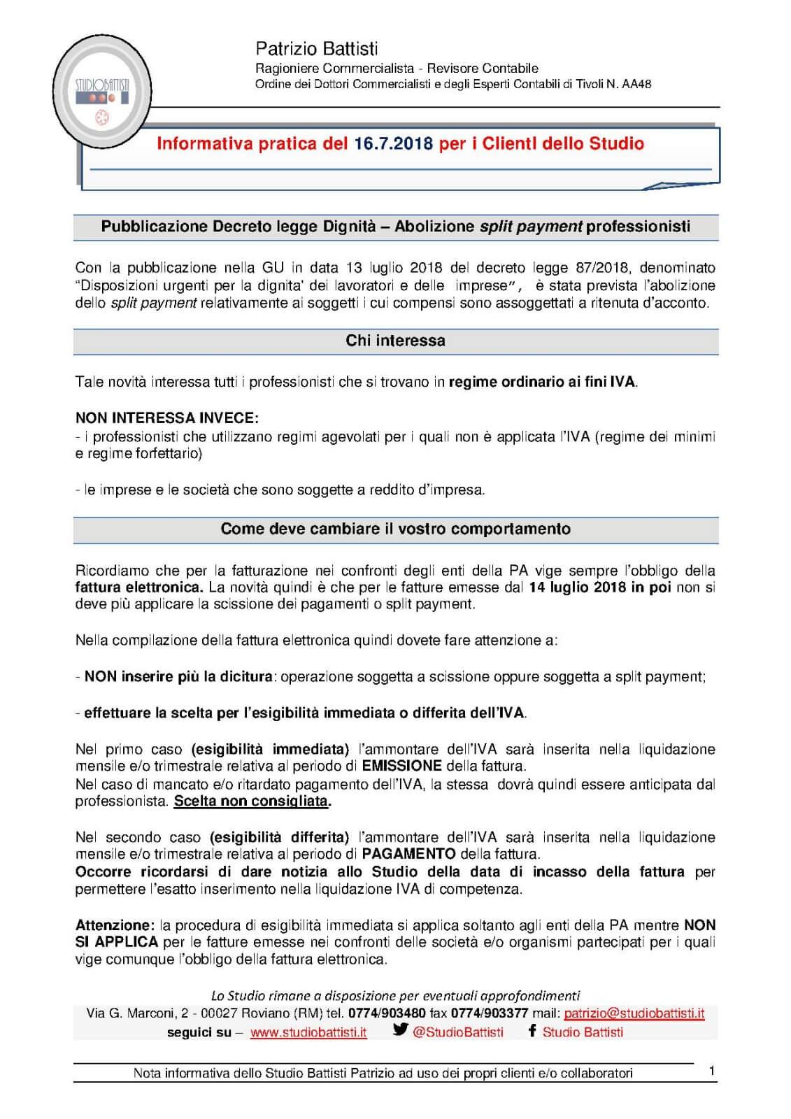 Pubblicazione Decreto legge Dignità – Abolizione split payment professionisti