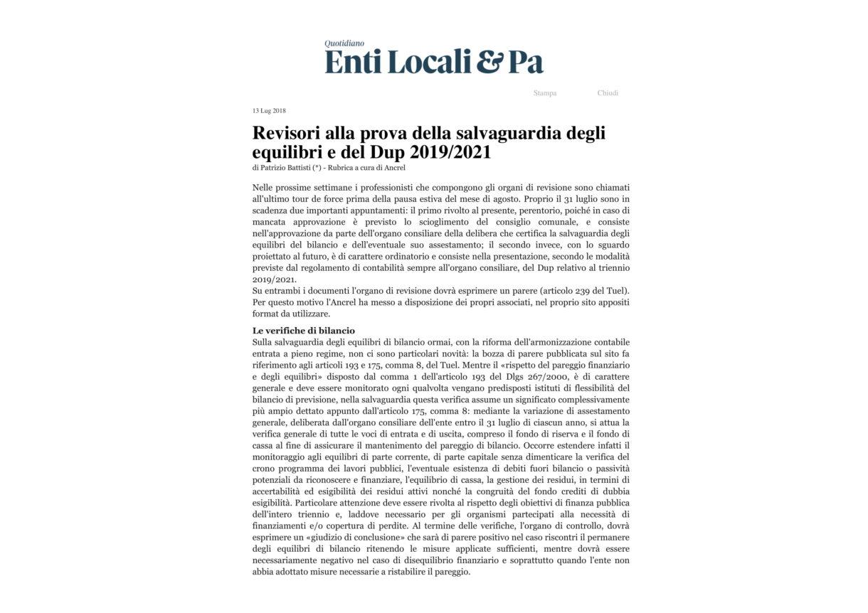 Revisori alla prova della salvaguardia degli equilibri e del Dup 2019_2021-1